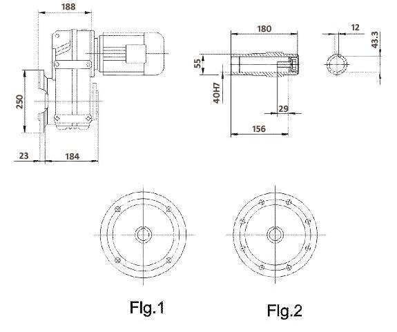Размеры мотор-редуктора FAF67 (фланец / полый вал)