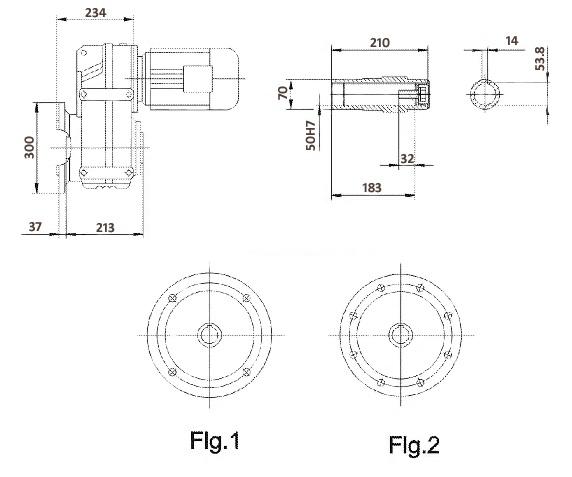 Размеры мотор-редуктора FAF77 (фланец / полый вал)