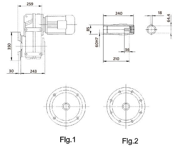 Размеры мотор-редуктора FAF87 (фланец / полый вал)