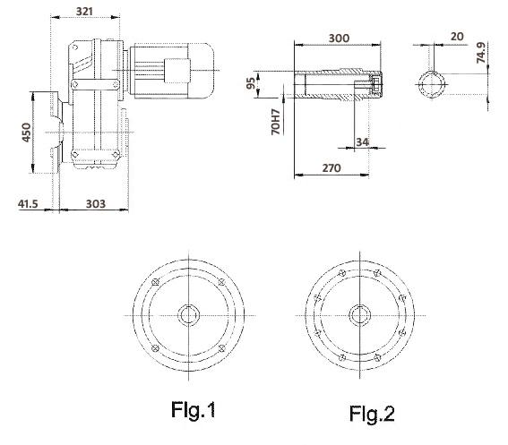 Размеры мотор-редуктора FAF97 (фланец / полый вал)