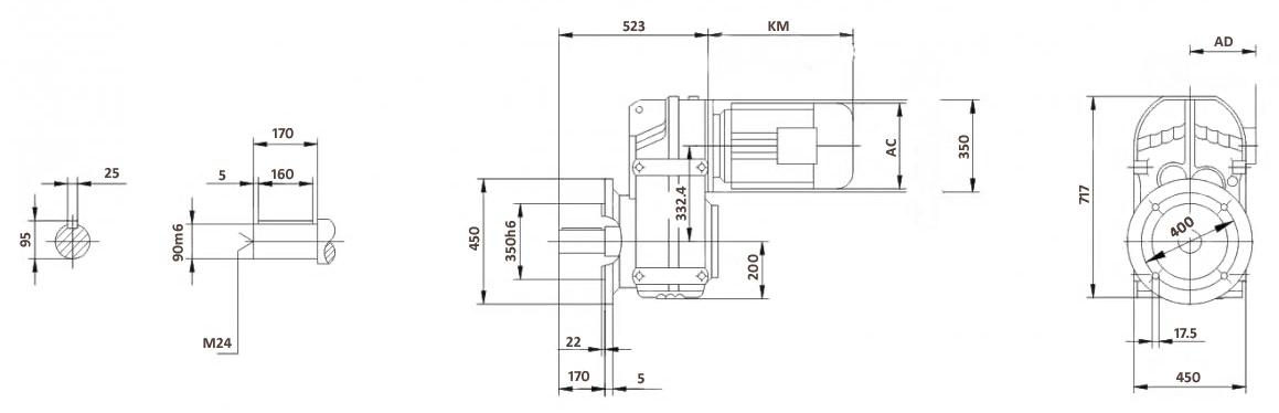 Размеры мотор-редуктора FF107 (фланец)