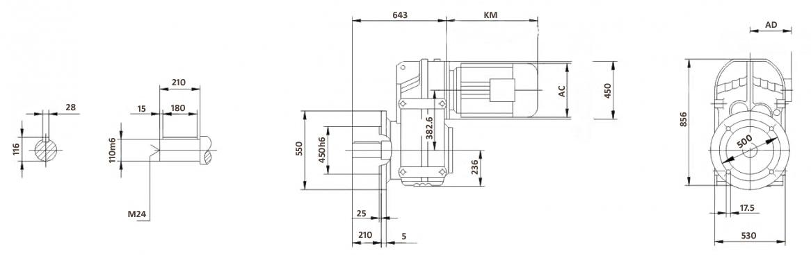 Размеры мотор-редуктора FF127 (фланец)