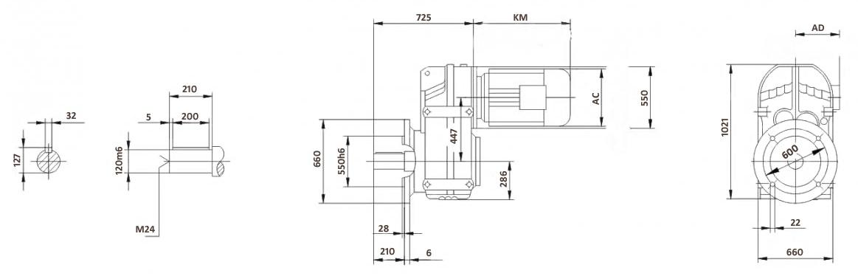 Размеры мотор-редуктора FF157 (фланец)