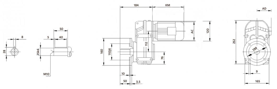 Размеры мотор-редуктора FF37 (фланец)