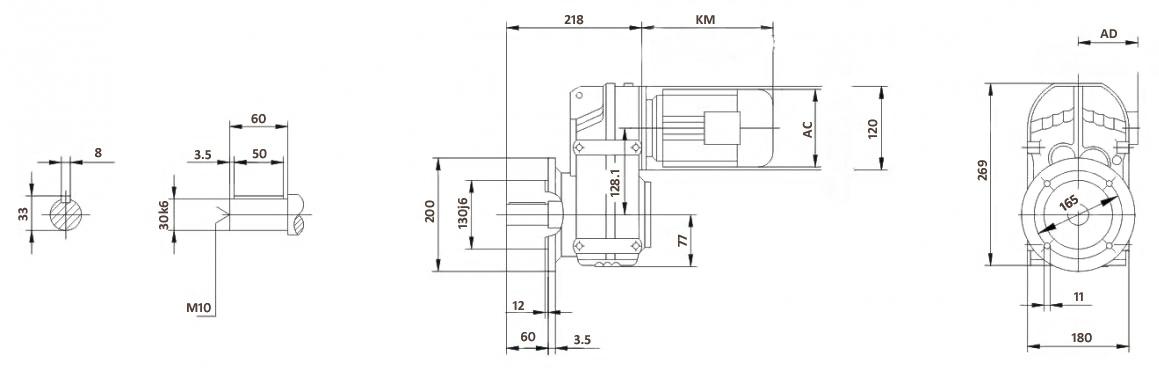 Размеры мотор-редуктора FF47 (фланец)