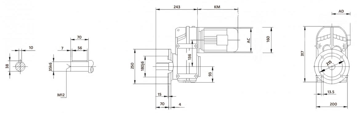 Размеры мотор-редуктора FF57 (фланец)