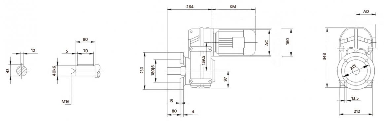 Размеры мотор-редуктора FF67 (фланец)