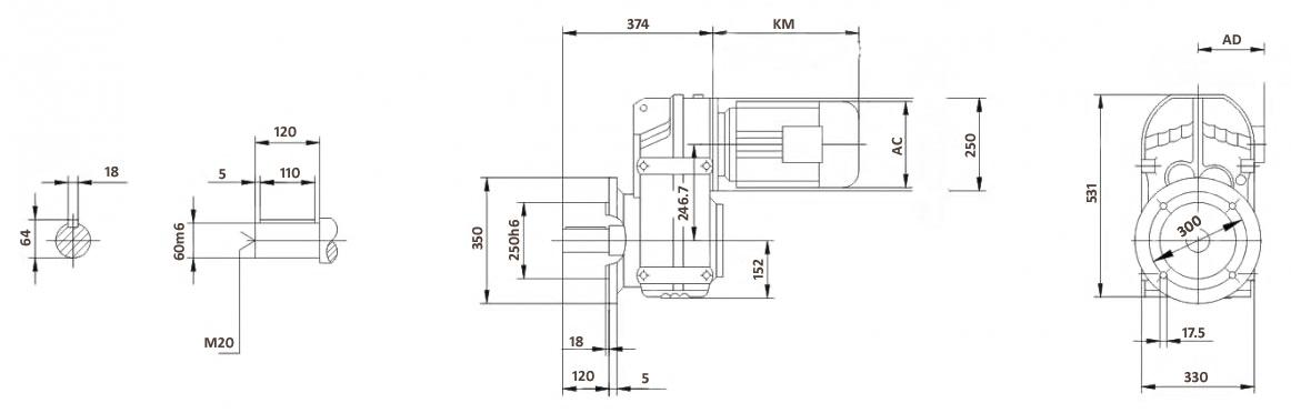Размеры мотор-редуктора FF87 (фланец)