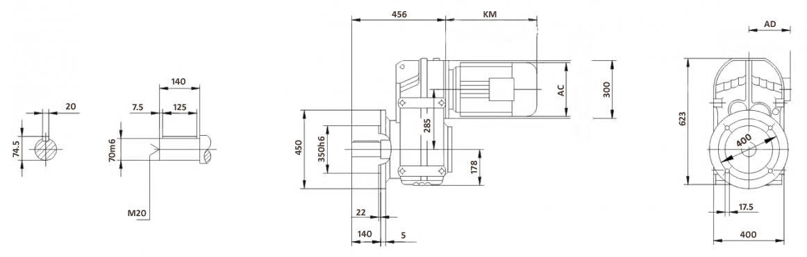 Размеры мотор-редуктора FF97 (фланец)