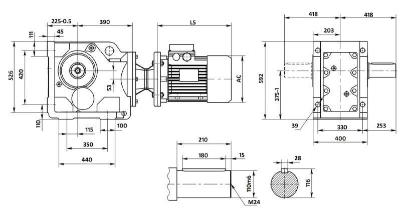 Чертеж мотор-редуктора K127 (лапы)