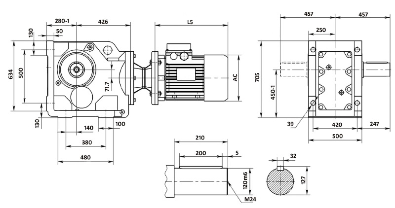 Чертеж мотор-редуктора K157 (лапы)