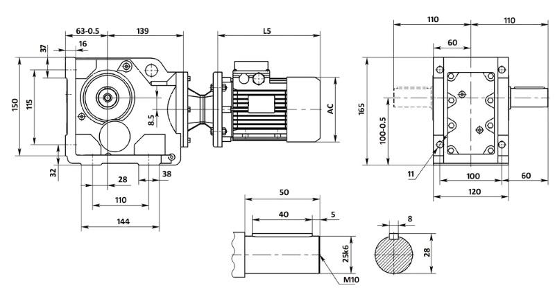 Чертеж мотор-редуктора K37 (лапы)