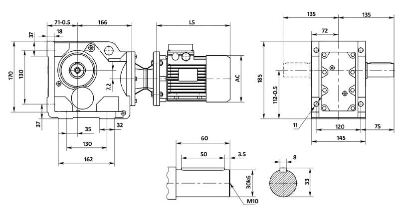 Чертеж мотор-редуктора K47 (лапы)