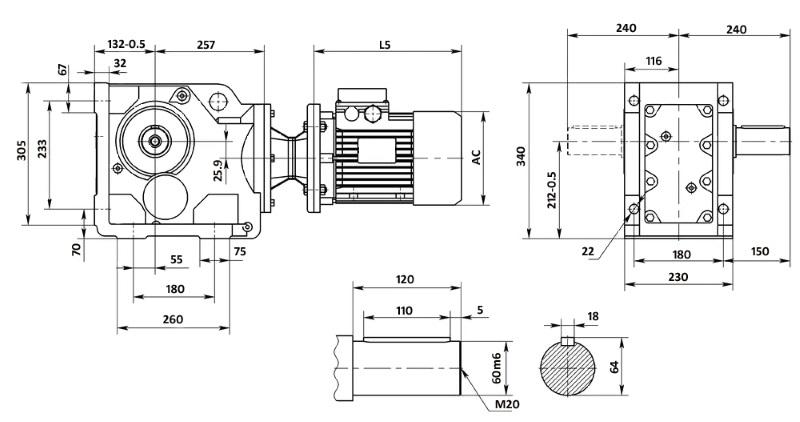 Чертеж мотор-редуктора K87 (лапы)