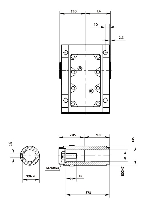 Размеры мотор-редуктора KA127B (лапы / полый вал)