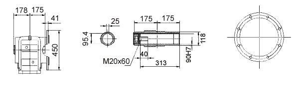 Размеры мотор-редуктора KAF107 (фланец / полый вал)