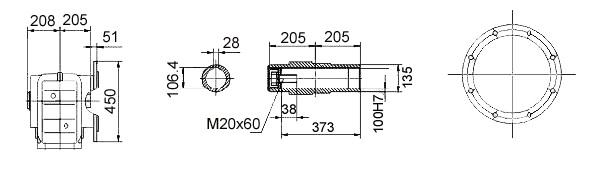 Размеры мотор-редуктора KAF127 (фланец / полый вал)