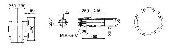 Размеры мотор-редуктора KAF157 (фланец / полый вал)