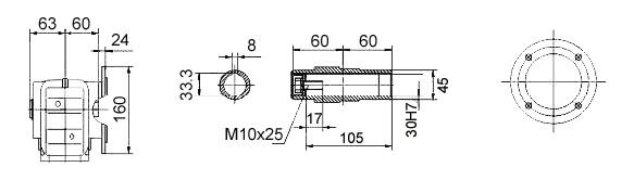 Размеры мотор-редуктора KAF37 (фланец / полый вал)