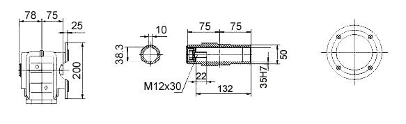 Размеры мотор-редуктора KAF47 (фланец / полый вал)