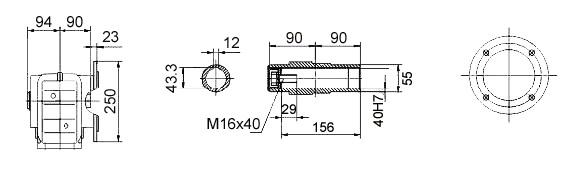 Размеры мотор-редуктора KAF67 (фланец / полый вал)