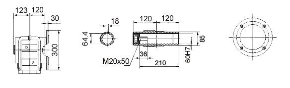 Размеры мотор-редуктора KAF87 (фланец / полый вал)