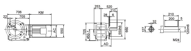 Размеры мотор-редуктора KF157 (фланец)