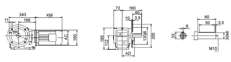 Размеры мотор-редуктора KF47 (фланец)