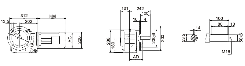 Размеры мотор-редуктора KF77 (фланец)