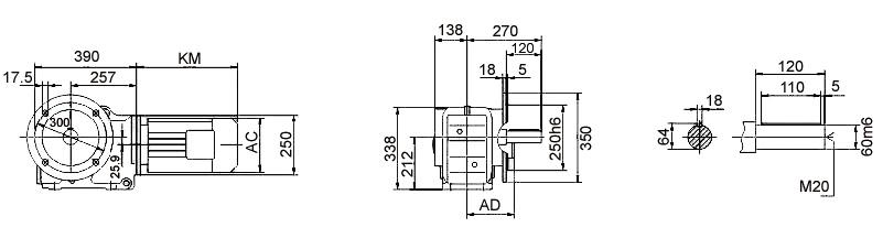Размеры мотор-редуктора KF87 (фланец)