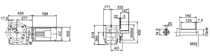 Размеры мотор-редуктора KF97 (фланец)