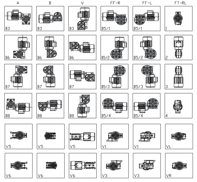 Монтажное исполнение мотор-редуктора MRT 50