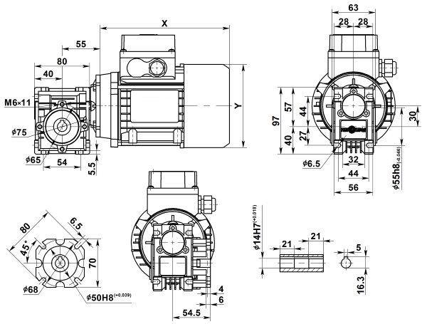Габаритные размеры мотор-редуктора NMRV 030