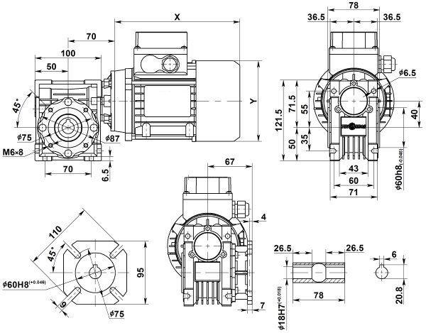 Габаритные размеры мотор-редуктора NMRV 040