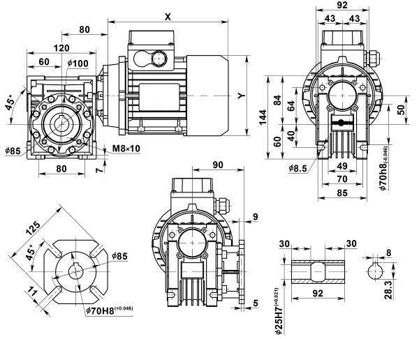 Габаритные размеры мотор-редуктора NMRV 050