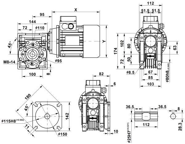 Габаритные размеры мотор-редуктора NMRV 063