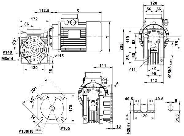 Габаритные размеры мотор-редуктора NMRV 075