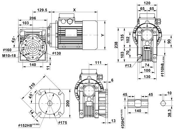Габаритные размеры мотор-редуктора NMRV 090