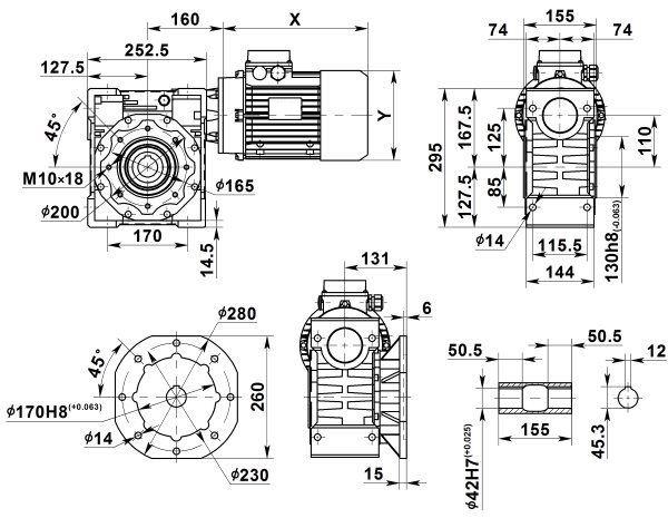 Габаритные размеры мотор-редуктора NMRV 110