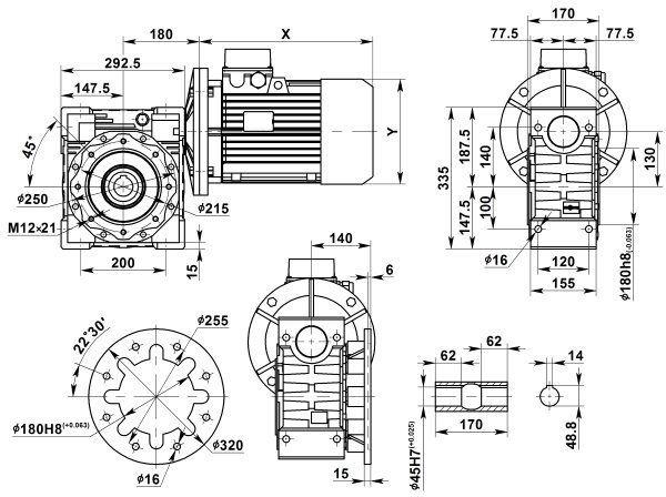 Габаритные размеры мотор-редуктора NMRV 130