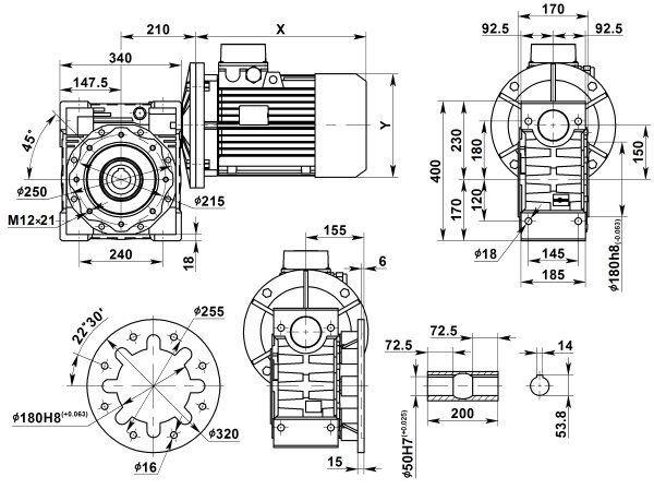 Габаритные размеры мотор-редуктора NMRV 150