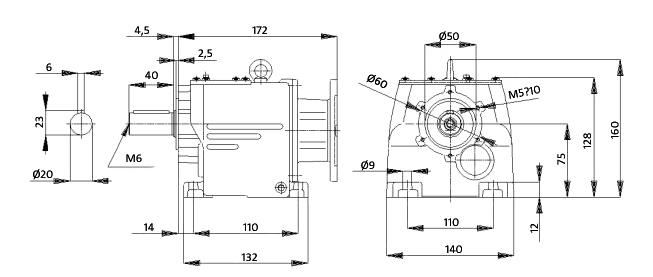Чертеж мотор-редуктора MTC 23A