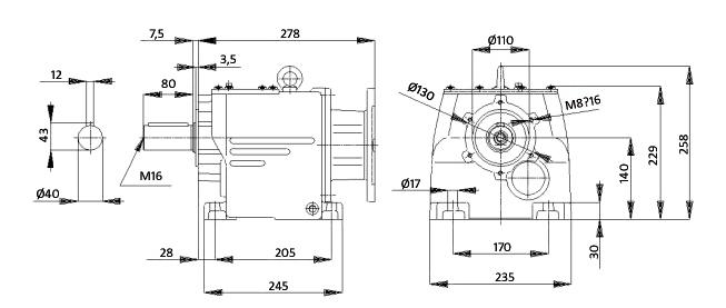 Чертеж мотор-редуктора MTC 52A