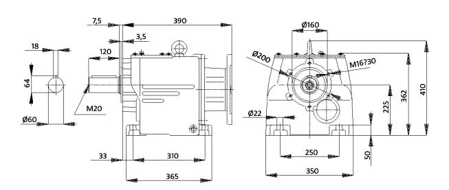Чертеж мотор-редуктора MTC 73A