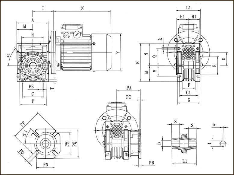 Размеры мотор-редуктора NMRV
