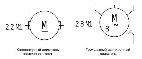 Обозначение электродвигателя на схеме