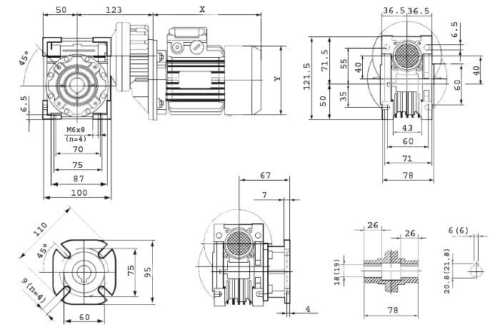 Чертежи мотор-редуктора PCRV 063/040