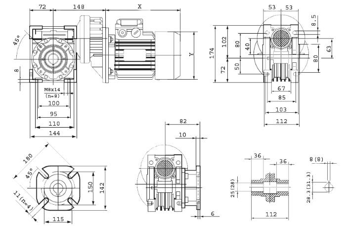 Чертежи мотор-редуктора PCRV 063/063