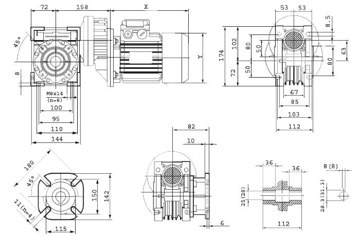 Чертежи мотор-редуктора PCRV 071/063