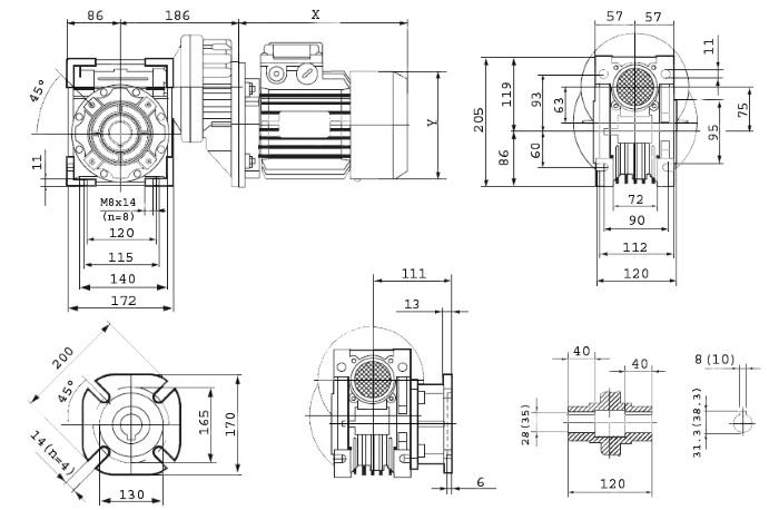 Чертежи мотор-редуктора PCRV 080/075